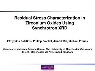 Residual Stress Characterization In Zirconium Oxides Using Synchrotron XRD