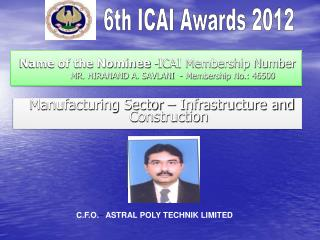 Name of the Nominee  -ICAI Membership Number MR. HIRANAND A. SAVLANI  - Membership No.: 46500