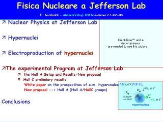 Fisica Nucleare a Jefferson Lab F. Garibaldi  - Miniworkshop INFN- Genova 27-02-08