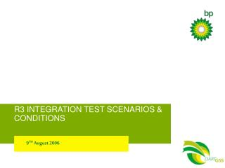 R3 INTEGRATION TEST SCENARIOS & CONDITIONS