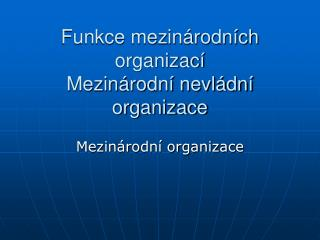 Funkce mezinárodních organizací Mezinárodní nevládní organizace