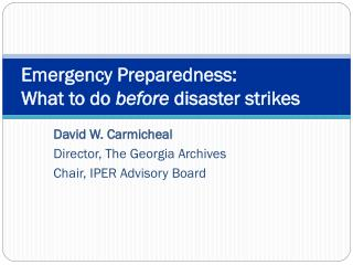 Emergency Preparedness: What to do  before  disaster strikes