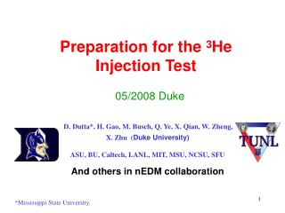 Preparation for the  3 He Injection Test