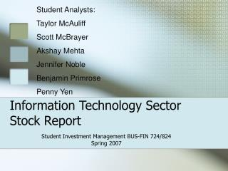 Information Technology Sector Stock Report