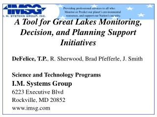 A Tool for Great Lakes Monitoring, Decision, and Planning Support Initiatives
