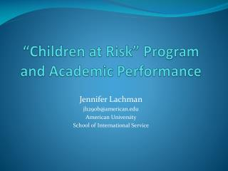 �Children at Risk� Program and Academic Performance