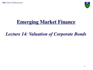 Emerging Market Finance Lecture 14: Valuation of Corporate Bonds