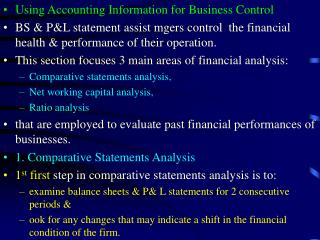 Using Accounting Information for Business Control
