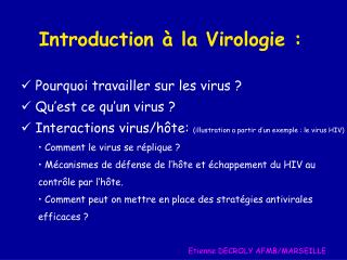 Introduction à la Virologie :