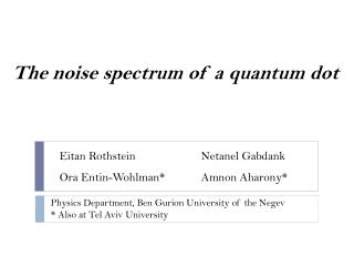 The noise spectrum of a quantum dot