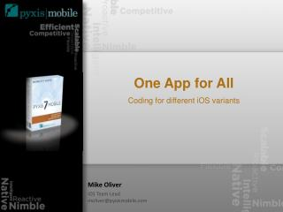 One App for All Coding for different iOS variants