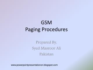 GSM Paging Procedures