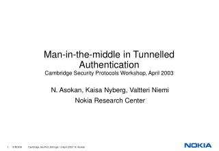 Man-in-the-middle in Tunnelled Authentication Cambridge Security Protocols Workshop, April 2003