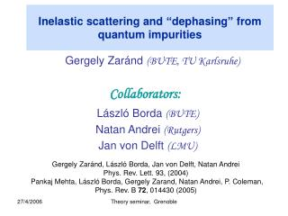 """Inelastic scattering and """"dephasing"""" from quantum impurities"""