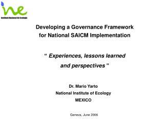 Developing a Governance Framework for National SAICM Implementation