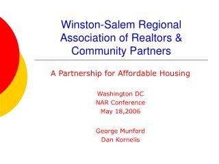 Winston-Salem Regional Association of Realtors  Community Partners
