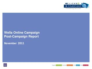 Wella Online Campaign Post-Campaign Report  November  2011