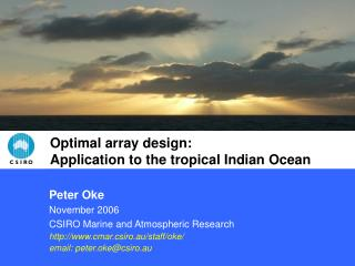 Optimal array design: Application to the tropical Indian Ocean