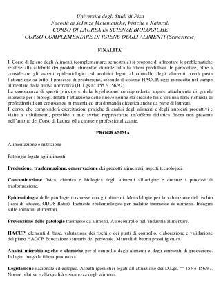 Università degli Studi di Pisa Facoltà di ScIenze Matematiche, Fisiche e Naturali