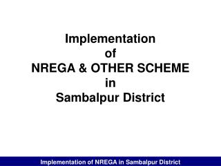 Implementation  of  NREGA & OTHER SCHEME in Sambalpur District