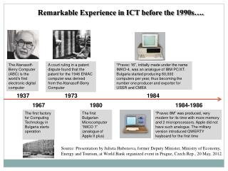 Remarkable Experience in ICT before the 1990s….