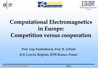 Prof. Guy Vandenbosch, Prof. R. Gillard K.U. Leuven, Belgium, IETR Rennes, France