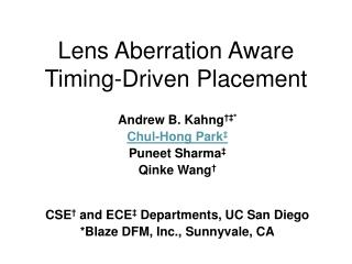 Lens Aberration Aware Timing-Driven Placement