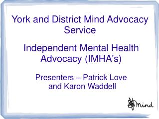 York and District Mind Advocacy Service