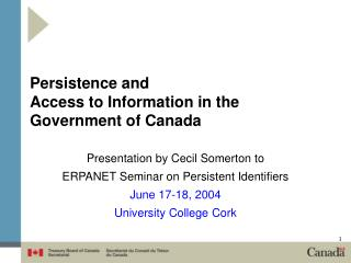 Persistence and  Access to Information in the Government of Canada