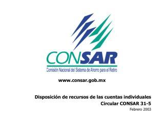 Disposición de recursos de las cuentas individuales Circular CONSAR 31-5 Febrero 2003