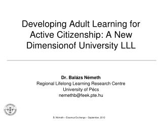 Developing Adult Learning for Active Citizenship: A  New Dimension of University LLL