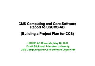 CMS Computing and Core-Software Report to USCMS-AB (Building a Project Plan for CCS)