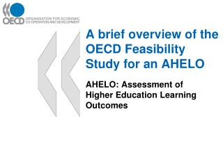 A brief overview of the OECD Feasibility Study for an AHELO