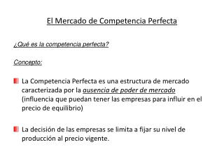 El Mercado de Competencia Perfecta