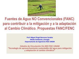Prof. Miguel Ángel Barcenas Sarabia Medio Ambiente y Energía Departamento de Ingeniería FESC-UNAM