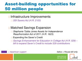 Asset-building opportunities for 50 million people