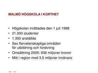 MALMÖ HÖGSKOLA I KORTHET