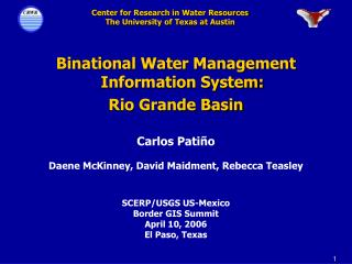 Binational Water Management Information System: Rio Grande Basin
