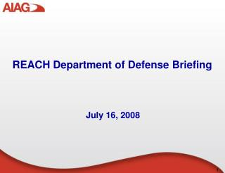 REACH Department of Defense Briefing