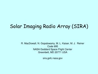 Solar Imaging Radio Array (SIRA)