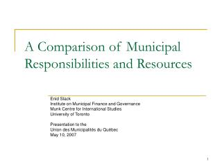 A Comparison of Municipal Responsibilities and Resources