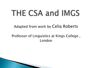THE CSA and IMGS