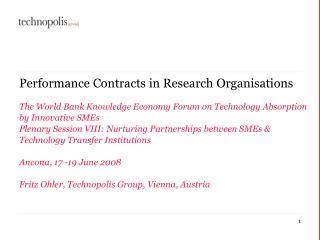 Performance Contracts in Research Organisations