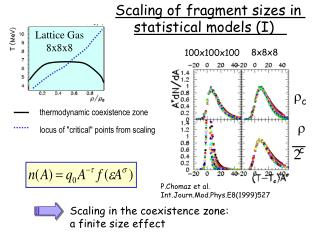 Scaling of fragment sizes in  statistical models (I)