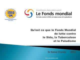Qu'est ce que le Fonds Mondial  de lutte contre le Sida, la Tuberculose  et le Paludisme