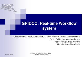 GRIDCC: Real-time Workflow system