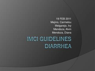 IMCI GUIDELINES DIARRHEA