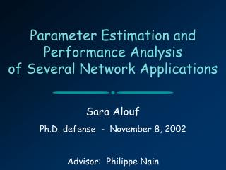 Parameter Estimation and Performance Analysis  of Several Network Applications
