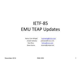 IETF-85 EMU TEAP Updates