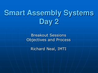 Smart Assembly Systems Day 2
